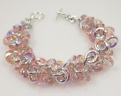 Reserved for Tamara, Pale Pink Czech Glass Shaggy Loops Chain Mail Bracelet, Chainmaille Jewelry