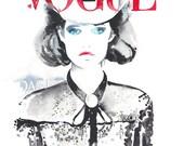 Original Painting, Watercolour Fashion Illustration. German Vogue, Das ist, Cowboy Girl