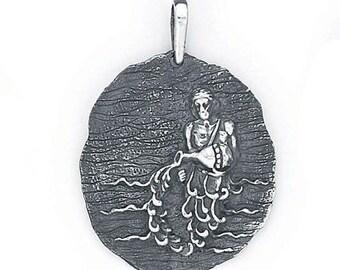 Aquarius Zodiac Pendant in Sterling Silver 501-11