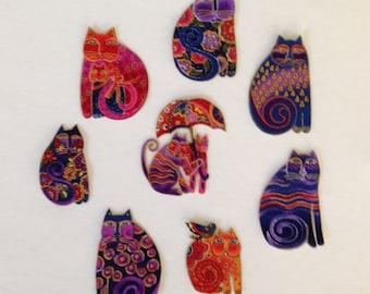 Set of 8 Adorable CAT Appliques*Handmade*Laurel Burch fabric/9