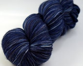 "Hand dyed yarn, sock yarn, Merino/ Nylon Sock Yarn, fingering weight yarn, Strong Sock, ""Midnight Strorm"" 100g"