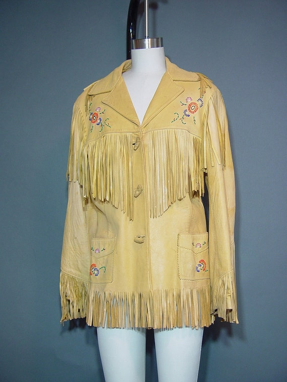 Vintage 50s Chris Line Leather Fringe Jacket Coat 1950s Beaded