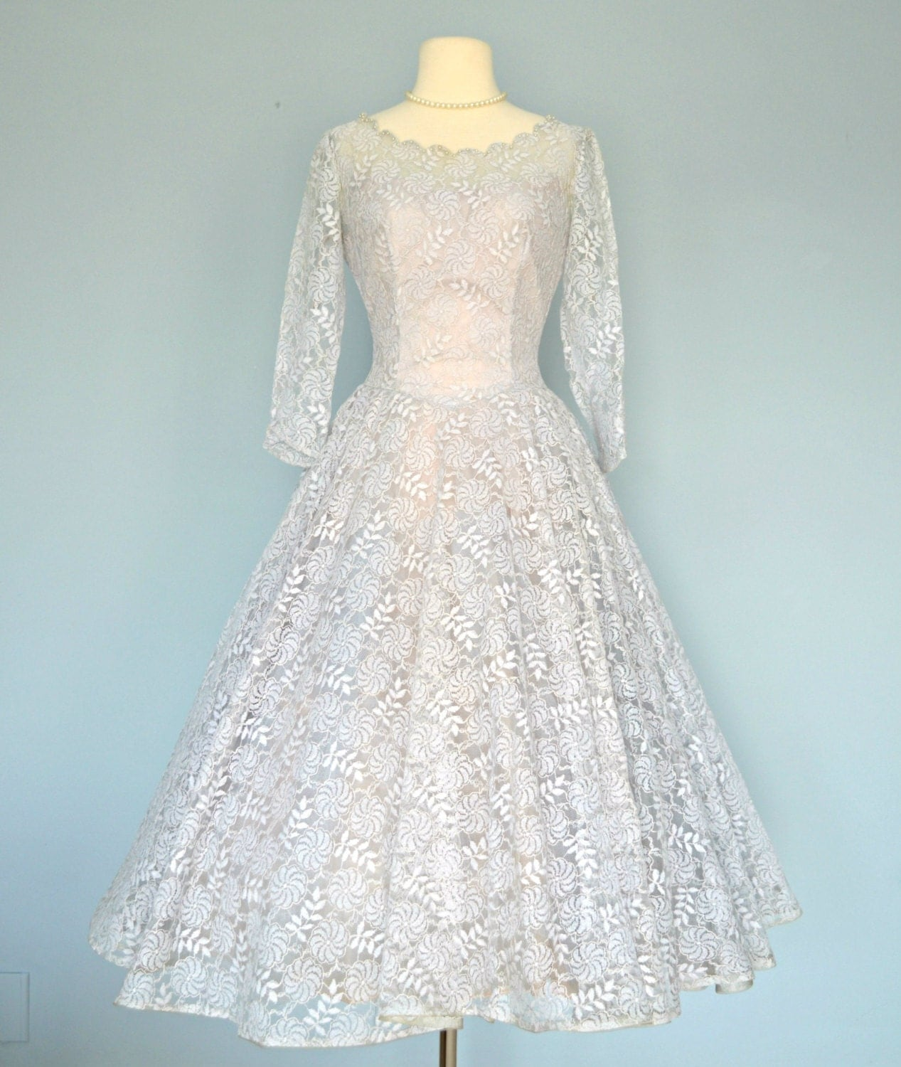 1950s blue lace wedding dress beautiful tea length pale blue for Blue lace wedding dress
