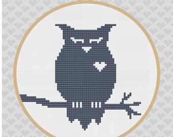 Owl Silhouette Cross Stitch PDF Pattern2