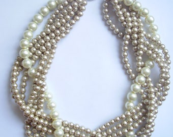 Champagne pearl necklace Custom order necklaces braided twisted chunky statement pearl necklace bridesmaid bridal