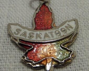 SASKATOON MAPLE LEAF  Canada Enamel Charm or Pendant