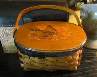 Vintage 1960s Basket Purse Bag Boho Chic Bohemian festival bag, box bag / Birds / pheasant quail