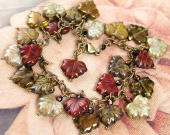 Autumn Bracelet Red Green Brown Earth Tone Maple Leaf Bracelet  Antique Gold Bracelet  Autumn Fashion