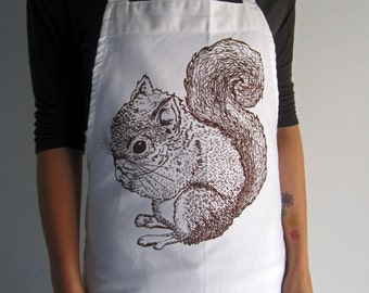 Screen Printed Cotton Apron - Natural Cotton Twill - Woodland Squirrel - Eco Friendly - Kitchen Apron - Handmade - Full Apron - Baking Apron