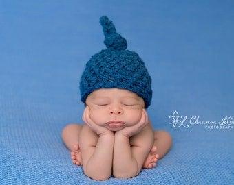 Newborn Knot Hat in Denim Blue