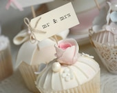 mr & mrs Party Picks - cream with twine bows - set of 10