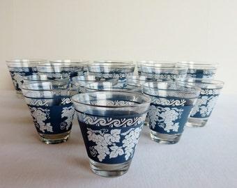 Vintage Blue Hazel Atlas Rocks Glasses - Jasperware - Grape Design - Barware