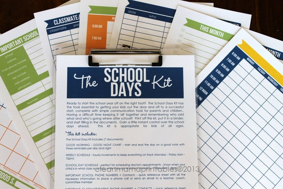 The SCHOOL Days Kit  - 7 documents - INSTANT DOWNLOAD