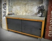 Reclaimed Wood and Raw Concrete Media Credenza