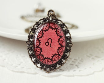 Leo Sign Zodiac Astrology Pendant Necklace, Red Lace Hand Drawn Art Original Painting