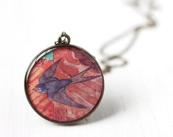 Flying Swallow Vintage Art Pendant Necklace, Red and Purple Pendant for People that Loves Birds