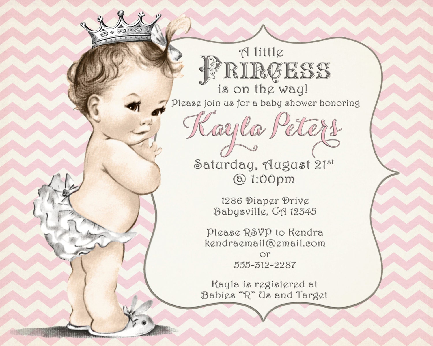 girl baby shower invitation chevron princess for girl pink