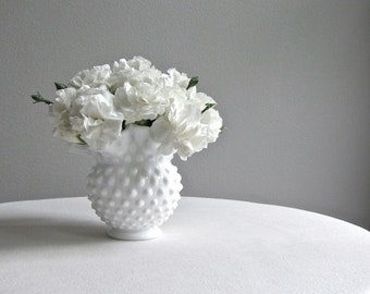 Vintage Milk Glass Vase by Fenton with Hobnail Design - Medium Round White Vase - American Mid Century