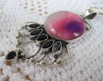 Iolite and Purple Agate Pendant