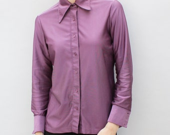 70s vintage women's muted purple polyester shirt, button down, long sleeved, disco - Medium