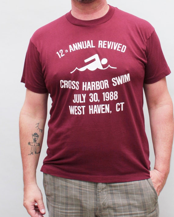 80s vintage maroon t-shirt, Cross Harbor swim team, soft and thin - Men's large