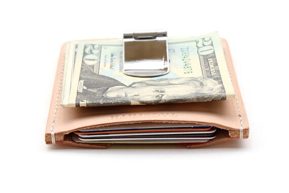 Mens leather money clip and card holder