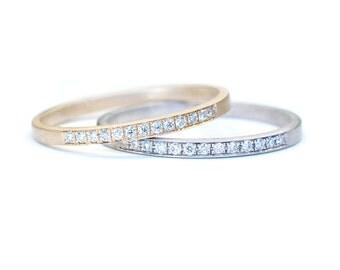 Wedding Band, Pave Band, Diamond Wedding Band, Stacking Ring, Stacking Diamond Ring, Gold Diamond Ring, Modern Wedding Band, Nixin
