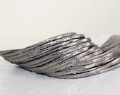 Metallic Silver  Double Wrap Cuff-Bracelet