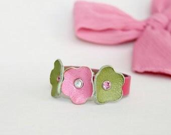 Kids Collection, Pink and Green Flowers  Bracelet,Genuine Leather  ,Swarowski Crystals  Bracelet