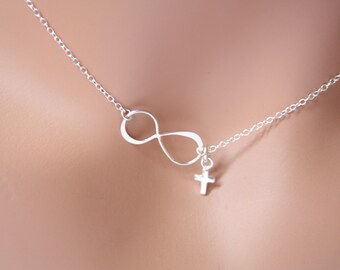 Tiny Cross with Infinity necklace in STERLING SILVER  - birth day gift, gift for her,mother and daughter ,Christmas gift ,wedding gift