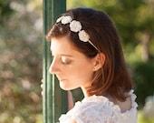 Wedding headband with five beige flowers - handmade crochet unique piece