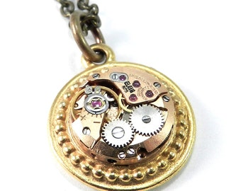 Refined Steampunk Jewelry Necklace Copper and Gold Wrist Watch Movement Petite Reversible Pendant 17 Jeweled Mechanism