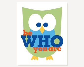 Be Who You Are Children's Art Owl Decor Nursery Illustration