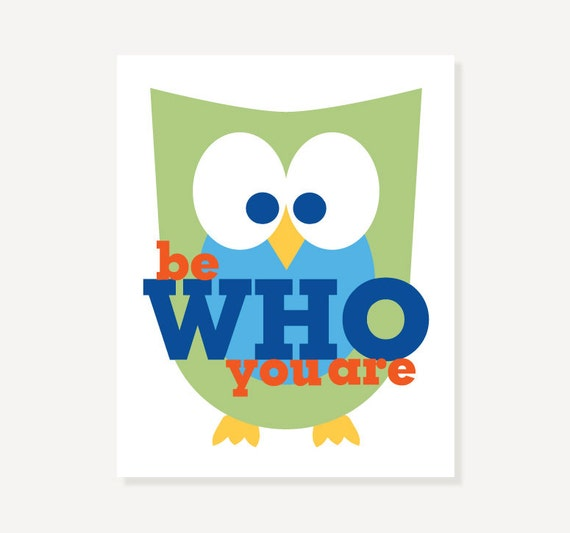 Be Who You Are Children's Art Owl Decor Nursery Illustration