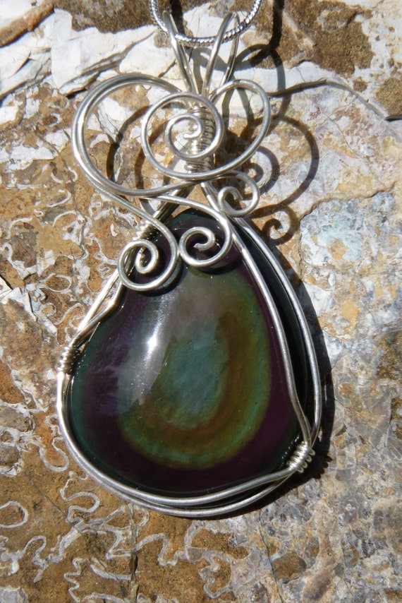 RESERVED FOR KELLY.. Rainbow obsidian necklace.. wire wrapped pendant in argentium sterling silver..