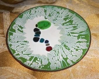 Enameled Copper Olive Tray/Trinket Dish Eames Era Modernist Metal Art Open Dish -Mid Century Barware