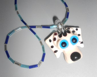 Puppy Love Pendant Dalmation Dog Art Glass Necklace On Hand Strung Glass Bugle Beads -Whimsical- Cute Back To School Jewelry