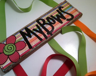 Stripes in Red, Orange and Lime Hair Bow Holder