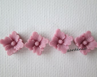 4PCS - Spring Collection - Berry - Buttercup Resin Flower Cabochons - 12mm - Matte Finish
