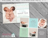 INSTANT DOWNLOAD - Bundle of Joy Birth Announcement 1- double-sided 5x7 templates for photographers on WHCC and Millers Lab specs
