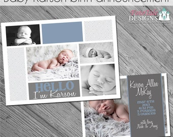 INSTANT DOWNLOAD - Baby Karson Announcement 2- custom 5x7 photo template for photographers on WHCC and Pro Digital Photos Specs