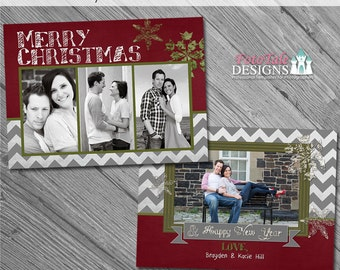 Holiday - Chalky Christmas Card No. 2 - 5x7 photo card templates for photographers