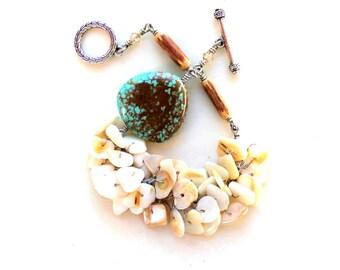 bracelet. magnesite and mother of pearl chips bracelet.  wood and swarovski. fringe wire wrapped bracelet