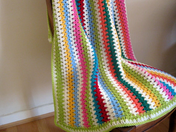 SALE THERAPY Granny Stripes Bright Crochet Blanket Afghan