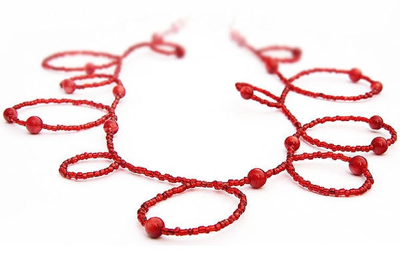 Handmade Bubble Necklace. Red Coral and Seed Bead Necklace. Wear it Long or Doubled or as 4 Wrap Bracelet