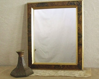 Antique Period Empire Mirror with Gilding and Faux  Painted Wood Grain      Sale was 78.00