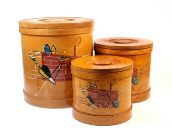 Enesco Wooden Canisters  - Set of 3