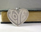 Love Heart Necklace - Antiqued Silver Solid Brass Heart Pendant Necklace Silver Chain