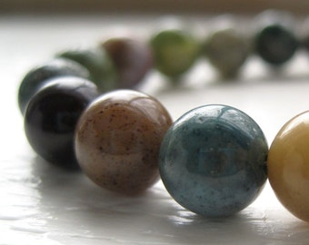 Fancy Jasper Necklace / Modern Stone Necklace / Jasper Beaded Necklace / Modern Industrial Pewter / Simple Single Strand