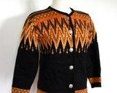 SALE Vintage 1960's Orange and Black Knit Wool Austrian Style Ski Cardigan